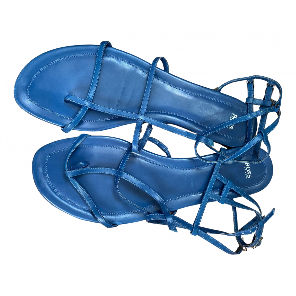 Boss N Blue Leather Sandals for Women 41 EU
