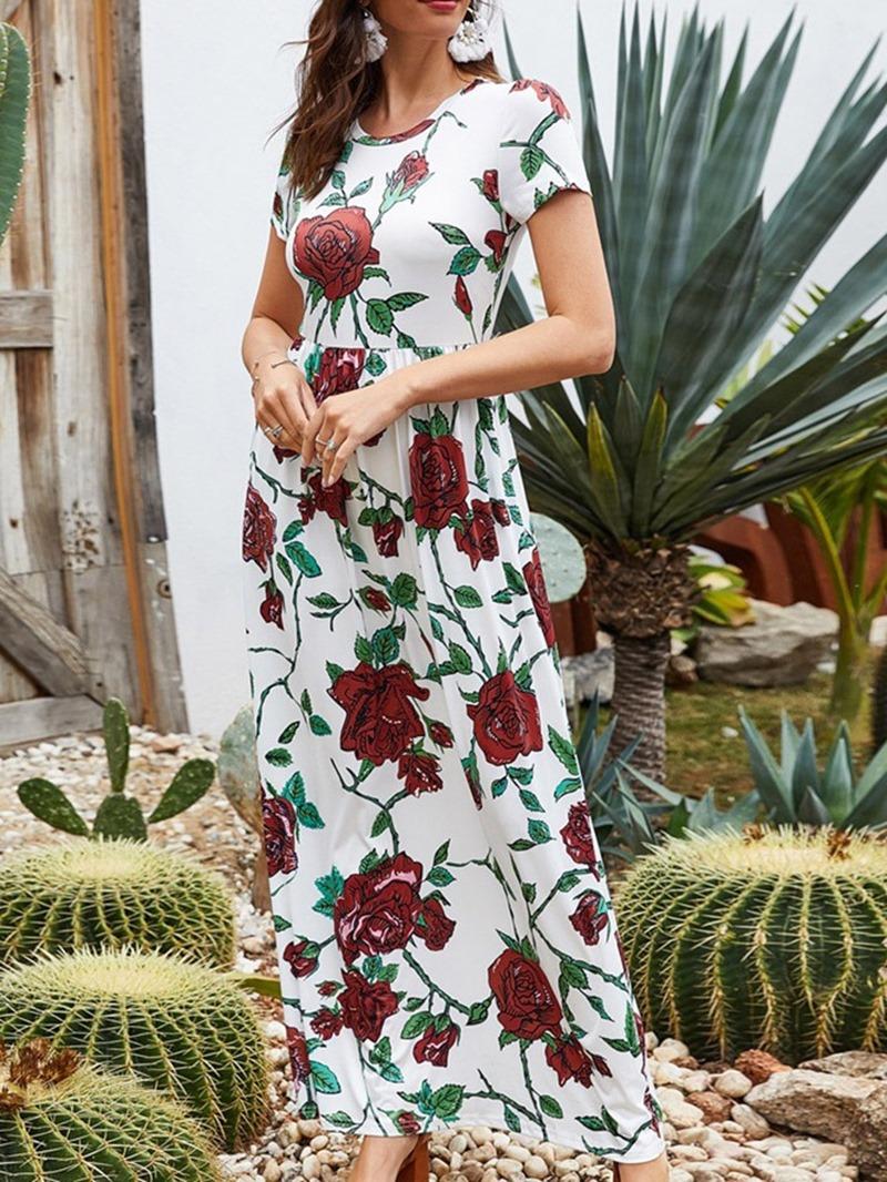 Ericdress Floor-Length Short Sleeve Round Neck Regular Pullover Dress