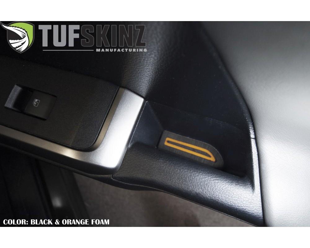 Tufskinz TAC057-FOG-X D-Cab Door Armrest Inserts Fits 2016-2020 Toyota Tacoma 4 Piece Kit In Black/Orange