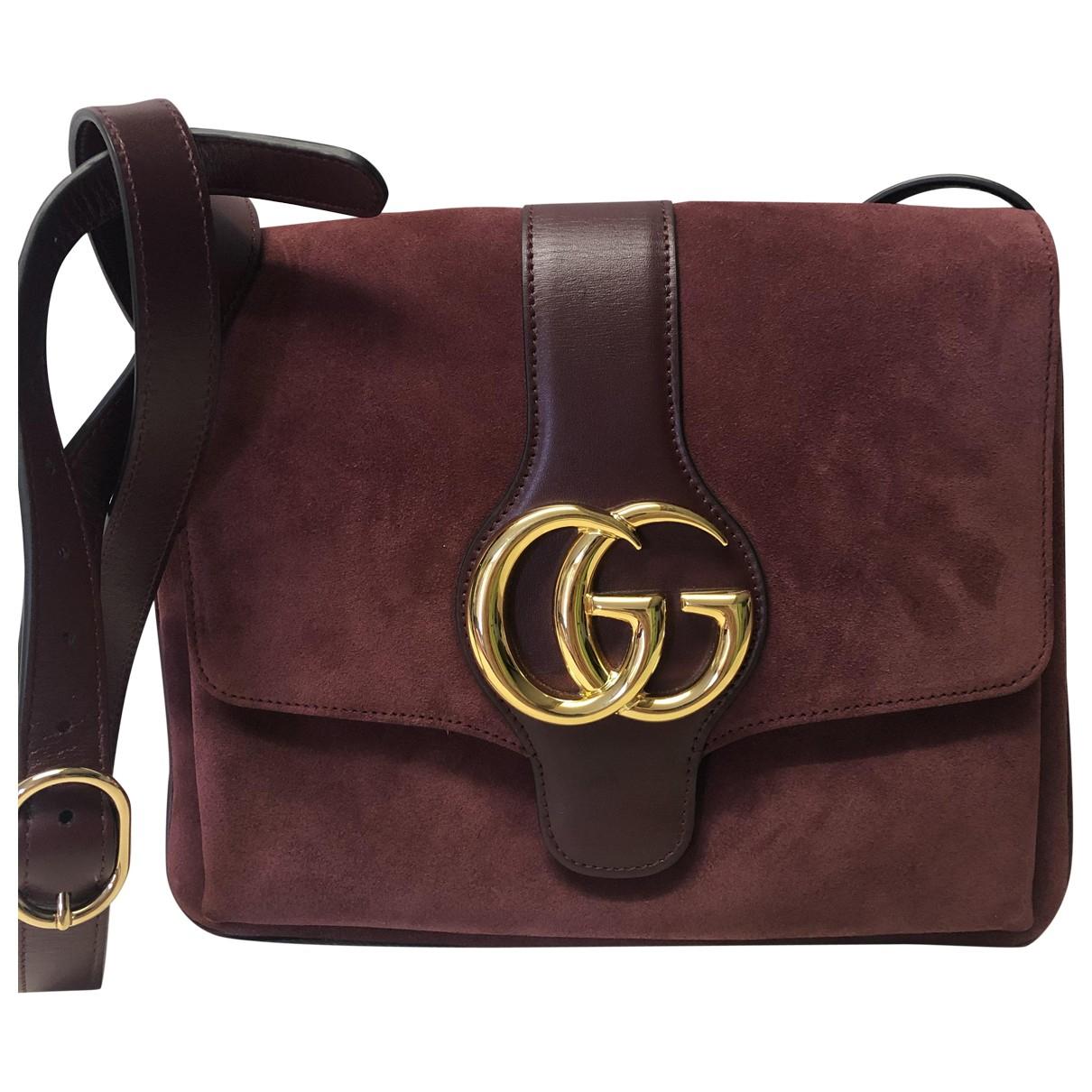Gucci Arli Handtasche in  Bordeauxrot Veloursleder