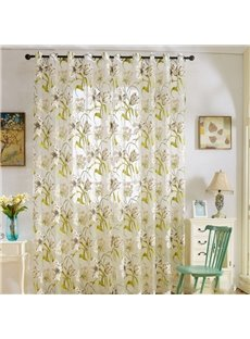 Pastoral Style Decorative Classy Polyester Orchid Blossoms Custom Sheer Curtains