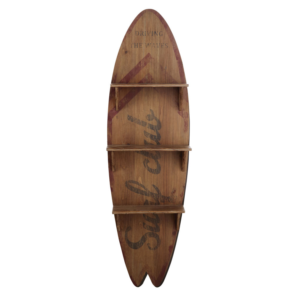 Surfbrettformiges Regal mit Druckmotiv
