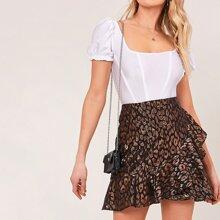 Ruffle Trim Leopard Jacquard Skirt