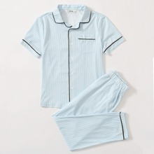 Boys Contrast Piping Striped Top & Pants PJ Set