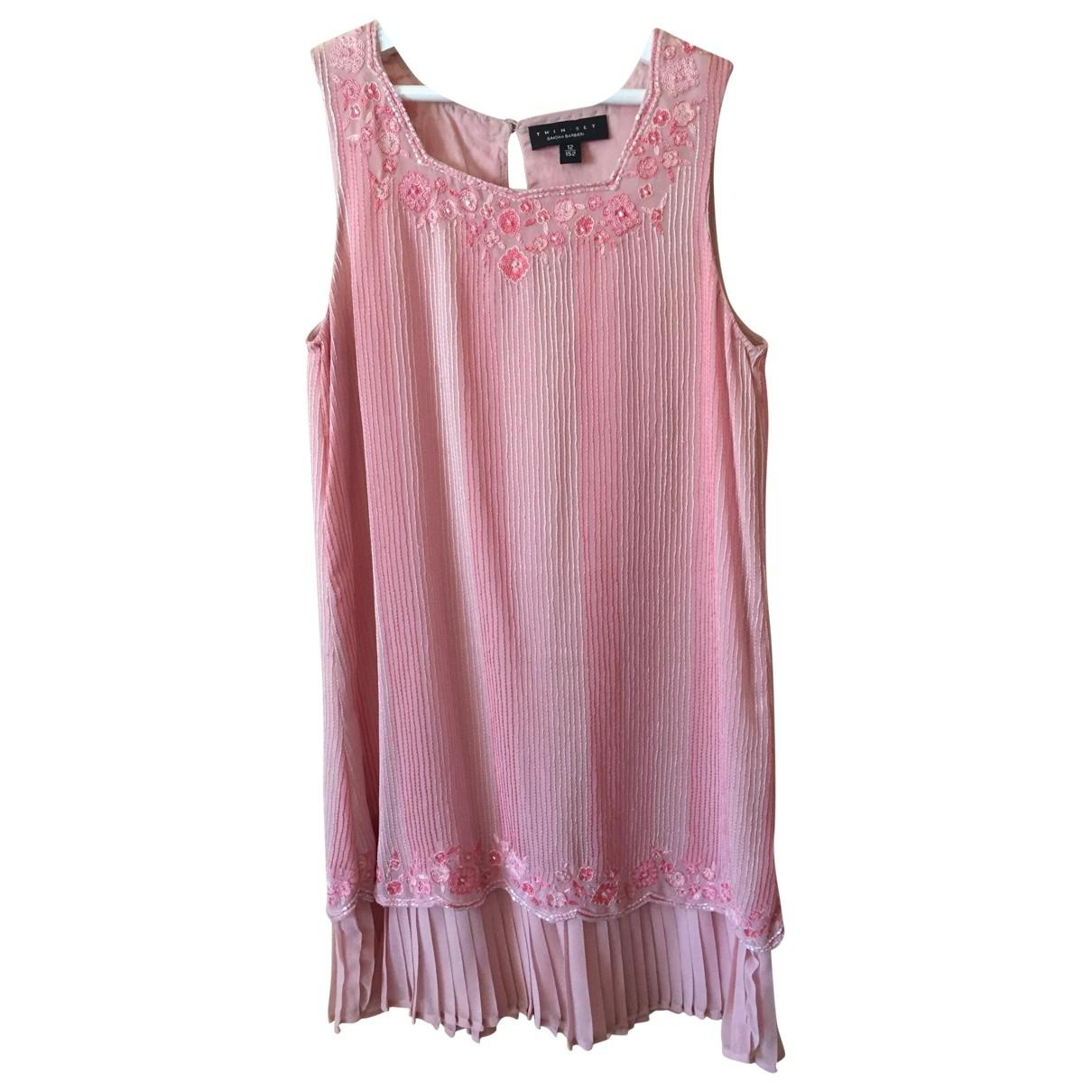 Twin Set - Robe    pour enfant en coton - rose