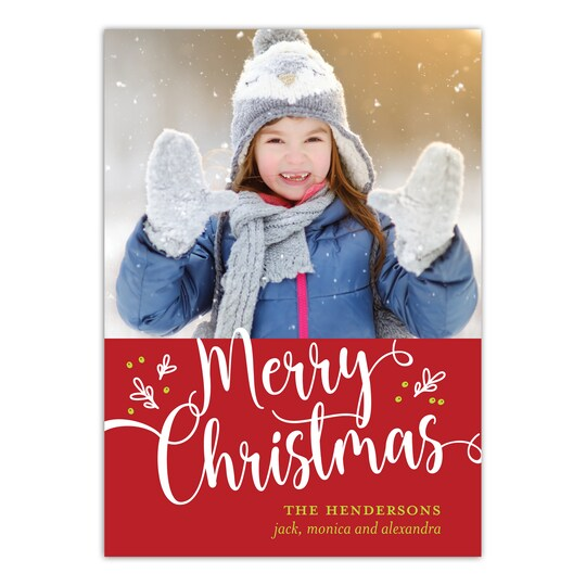 20 Pack of Gartner Studios® Personalized Merry Berries Flat Holiday Photo Card in Red   5