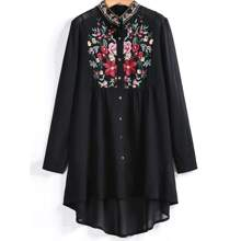 Plus Floral Embroidery Sheer Chiffon Longline Blouse