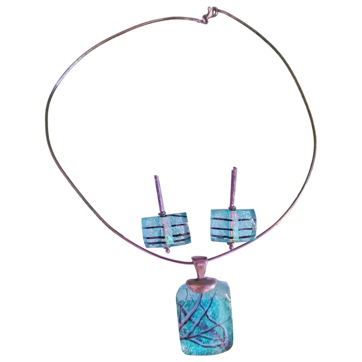 Non Signé / Unsigned Motifs Ethniques Blue Silver Jewellery set for Women \N