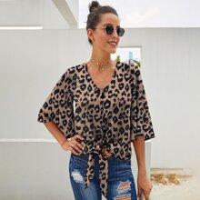 Button Front Knot Hem Leopard Print Blouse