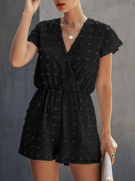 Milanoo Blue Summer Romper V-Neck Short Sleeves Cotton Blend Straight Playsuit
