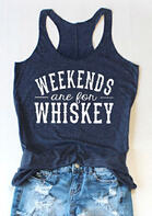 Weekends Are For Whiskey Tank - Navy Blue