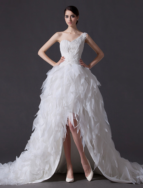 Milanoo Ivory A-line One-Shoulder Flower Feather Wedding Gown with Sweetheart Neck