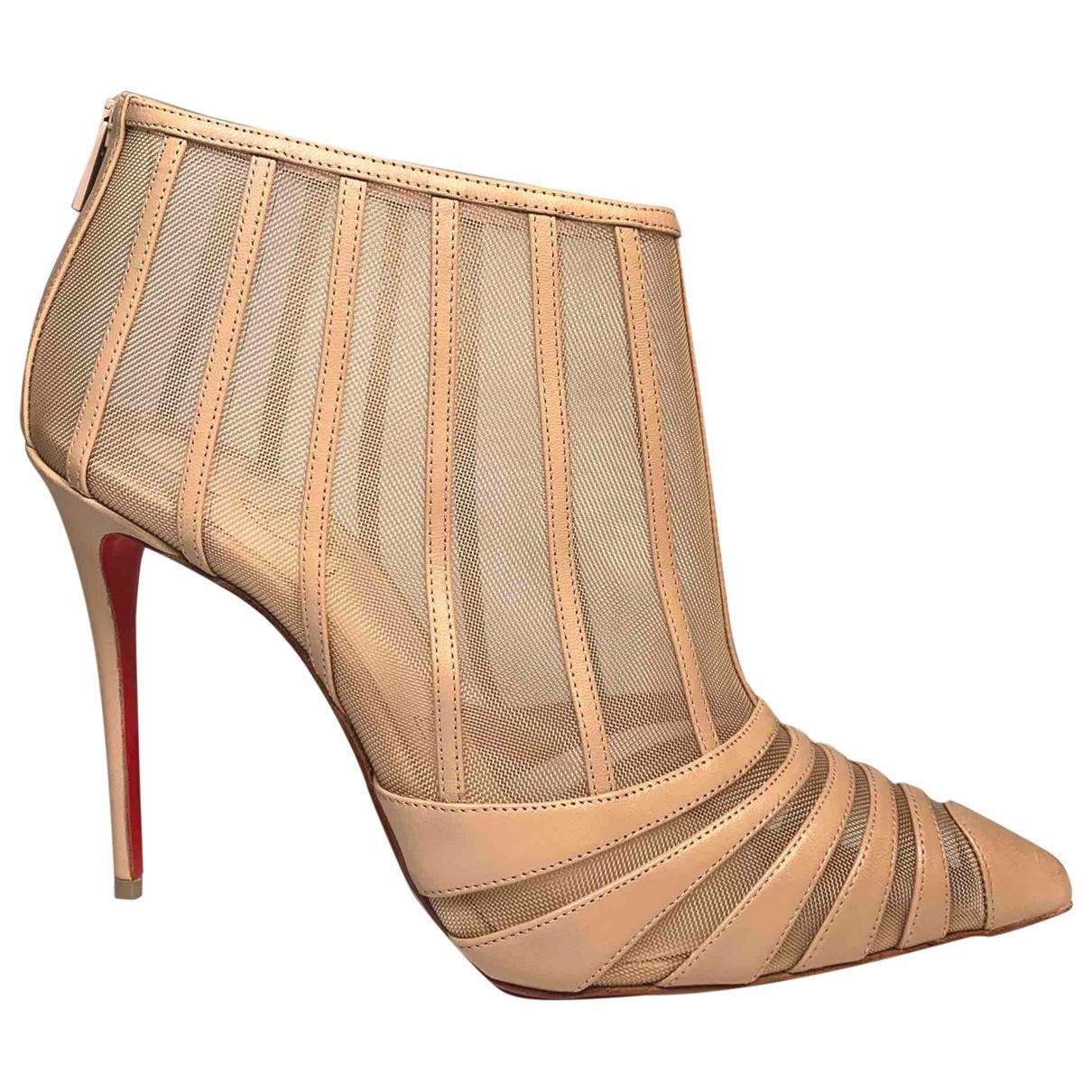 Christian Louboutin - Boots   pour femme en cuir - beige