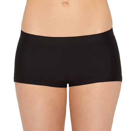 Arizona Boyshort Bikini Swimsuit Bottom Juniors, Small , Black