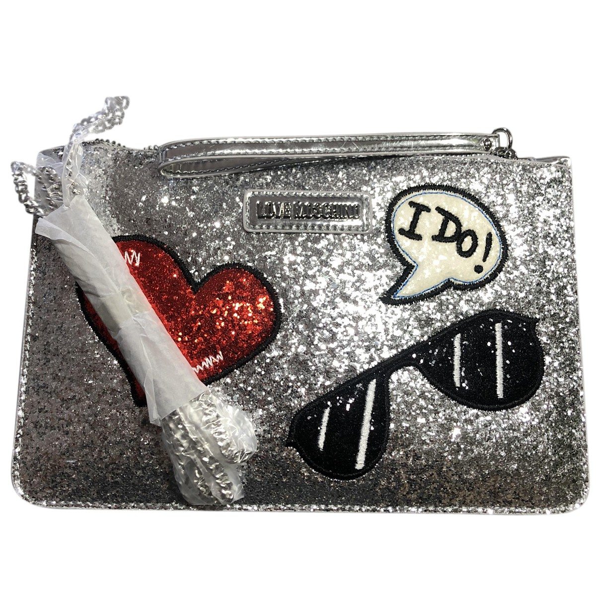 Moschino Love \N Clutch in  Silber Mit Pailletten