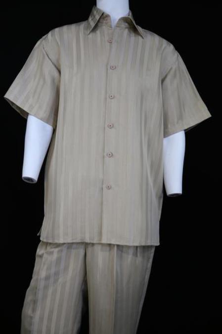 Mens Reflective Stripes Pocketless Short Sleeve Walking Suit Cream