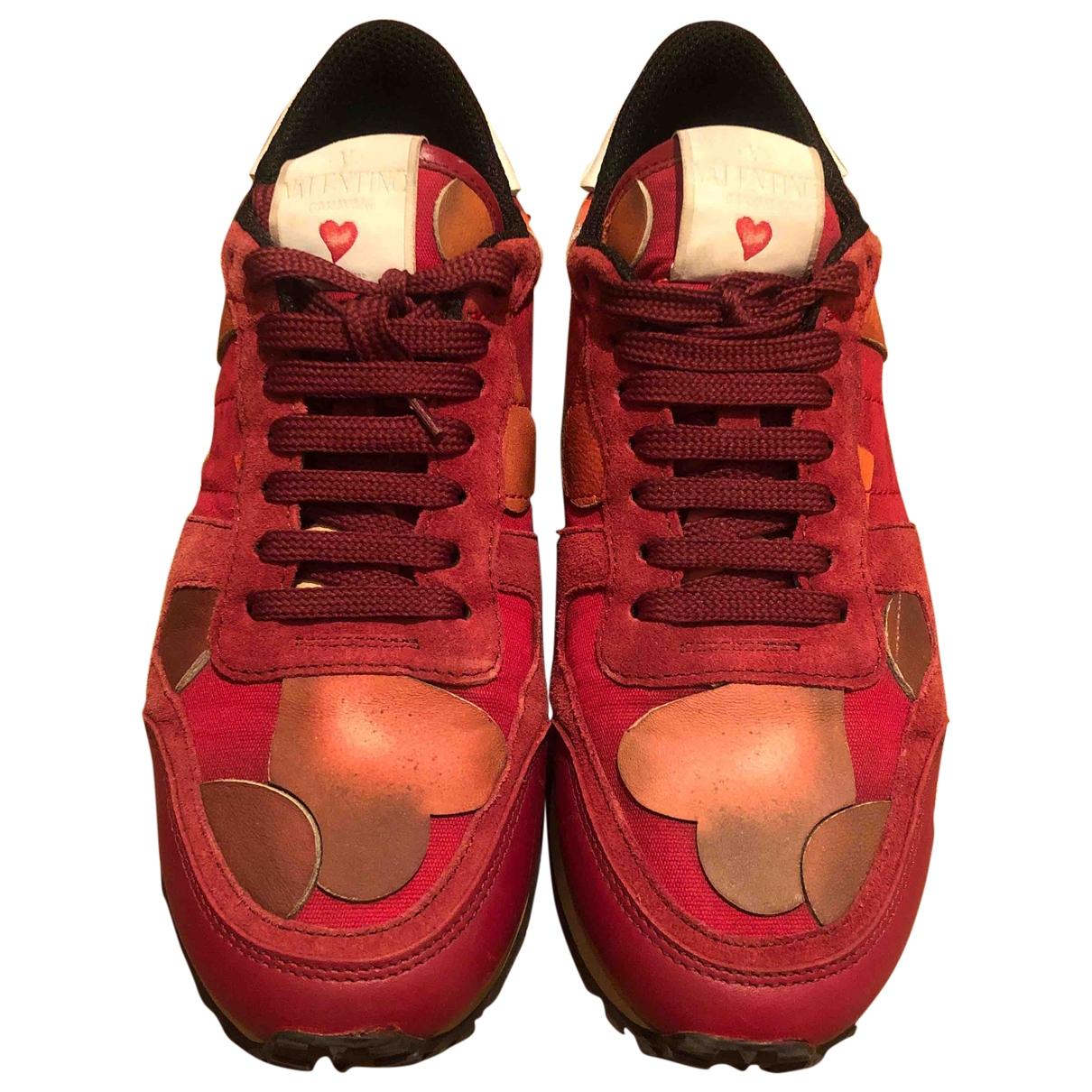 Valentino Garavani Rockrunner Red Leather Trainers for Women 38 EU