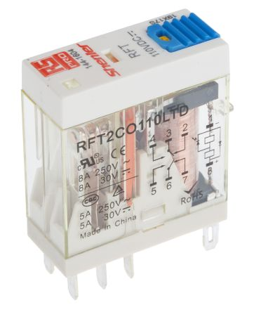 RS PRO , 110V dc Coil Non-Latching Relay DPDT, 8A Switching Current Plug In, 2 Pole