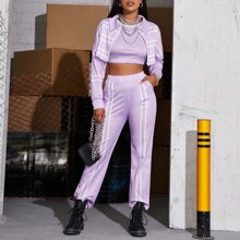 Striped Print Tank Top With Jacket & Pants Set