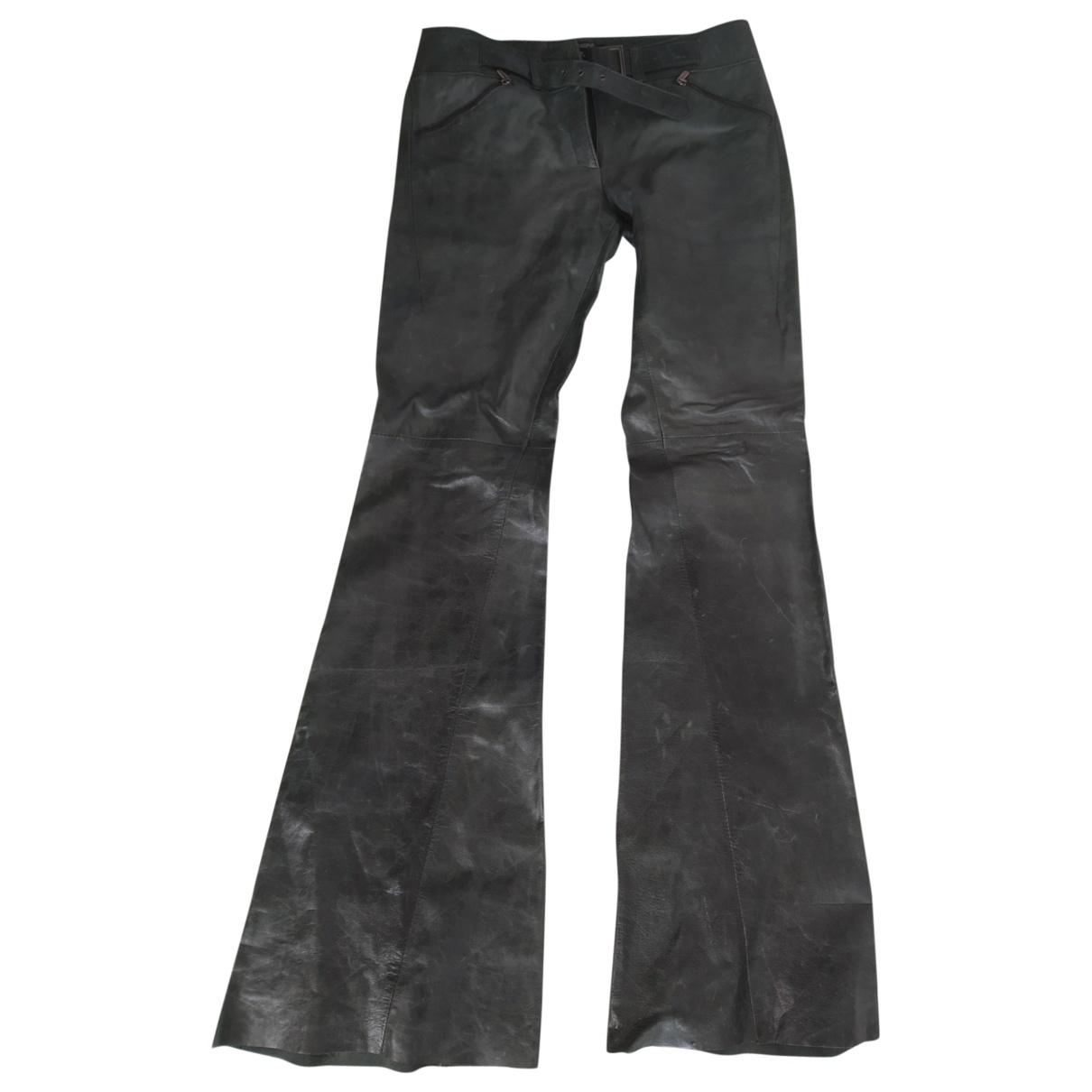 Non Signé / Unsigned \N Green Leather Trousers for Women 42 IT