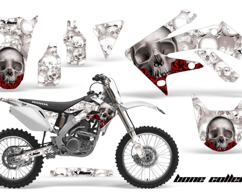 AMR Racing Dirt Bike Graphics Kit Decal Sticker Wrap For Honda CRF250R 2004-2009áBONES WHITE