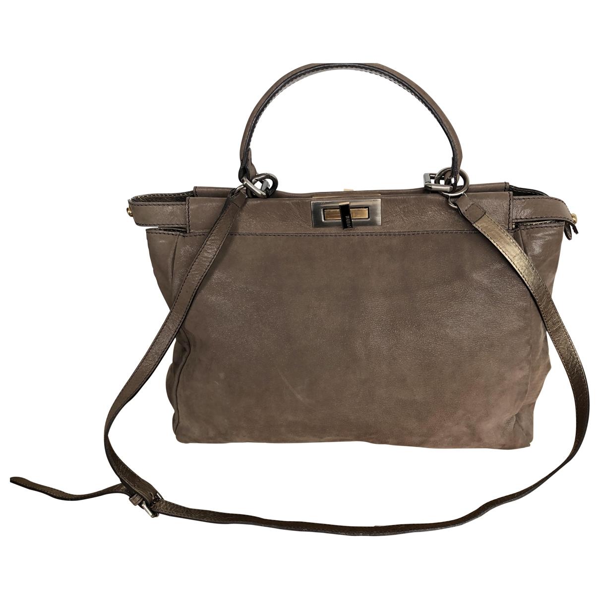 Fendi Peekaboo Beige Suede handbag for Women \N