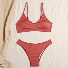 Rib Cheeky Bikini Swimsuit