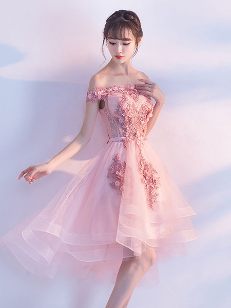 Milanoo Tulle Homecoming Dresses 2020 Short Prom Dresses Red Off The Shoulder Lace Applique Beading Cocktail Dress