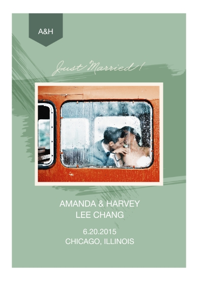 Just Married 5x7 Cards, Premium Cardstock 120lb with Elegant Corners, Card & Stationery -Paint Just Married Wedding Set