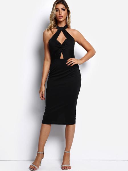 Yoins Black Cut Out Slit Design Midi Dress