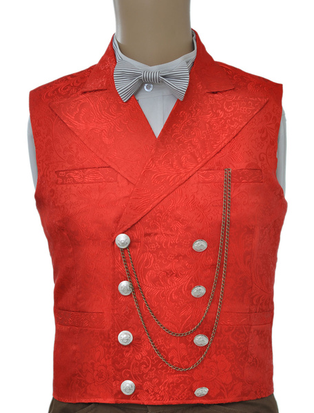 Milanoo Vintage Steampunk Waistcoat Red Mens Double Breasted Suit Vest Pocket Watch Chain Back Strap Jacquard Retro Costume Halloween
