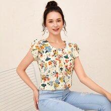 Bluse mit Schmetterlingaermeln und Blumen Muster