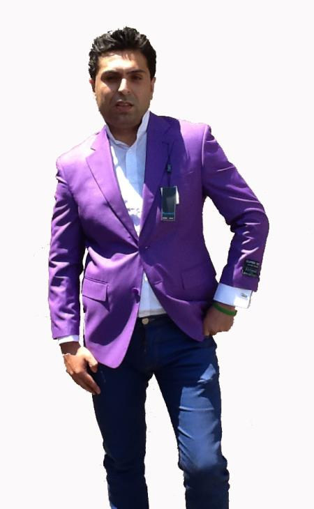 Colored Bright Mens Sport Coat / Dinner Jacket Blazer Vented Purple