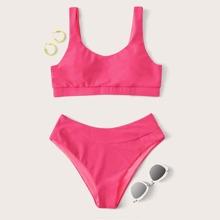 Solid Scoop Neck Bikini Swimsuit