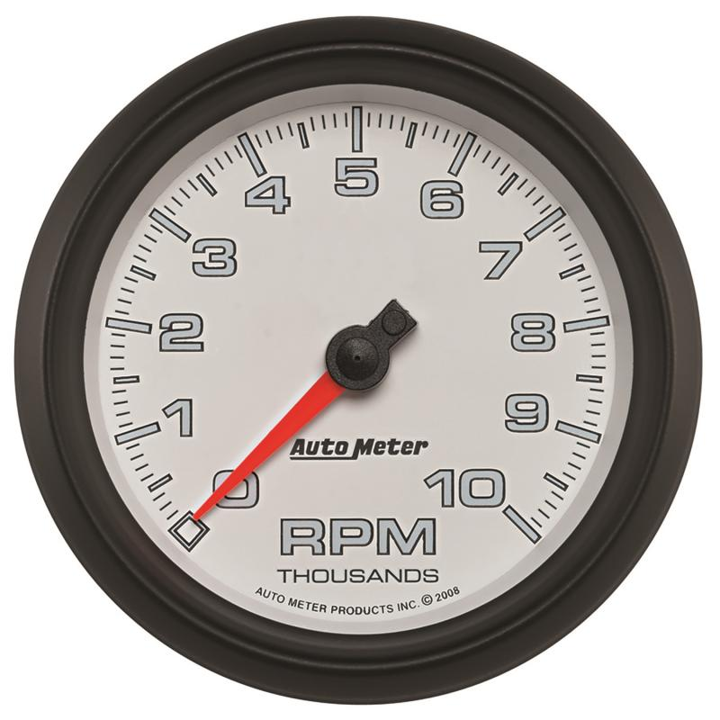 AutoMeter GAUGE; TACHOMETER; 3 3/8in.; 10K RPM; WHITE; PRO-CYCLE