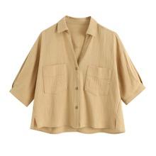 Bluse mit doppelten Taschen und Schlitz