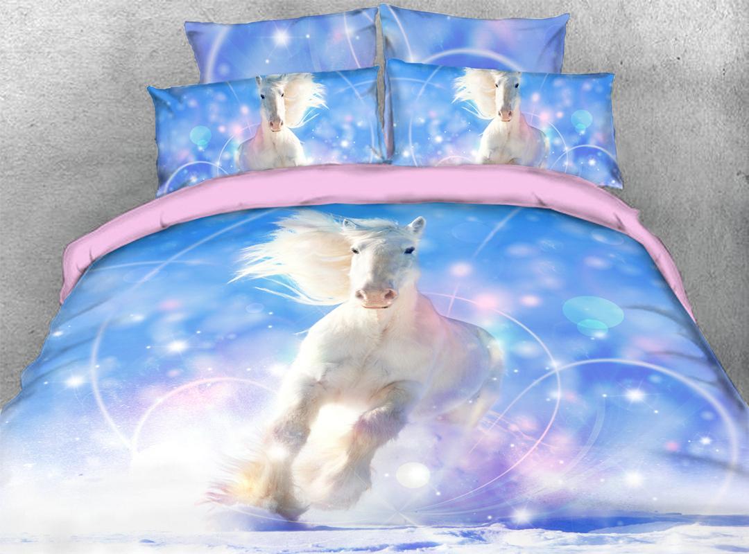 White Horse Soft 3D Animal Bedding Set 4PCS Duvet Cover with Zipper Closure
