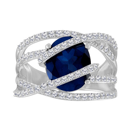 Womens Blue & White Lab-Created Sapphire Sterling Silver Cocktail Ring, 7 , No Color Family