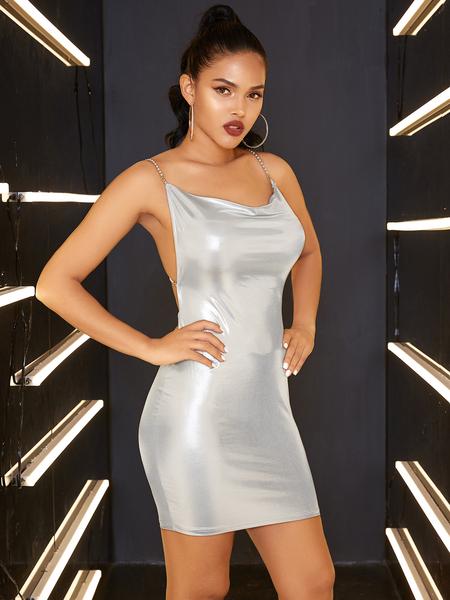 YOINS Backless Design Scoop Neck Sleeveless Dress