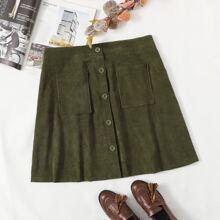 Plus Button Front Corduroy A-line Skirt