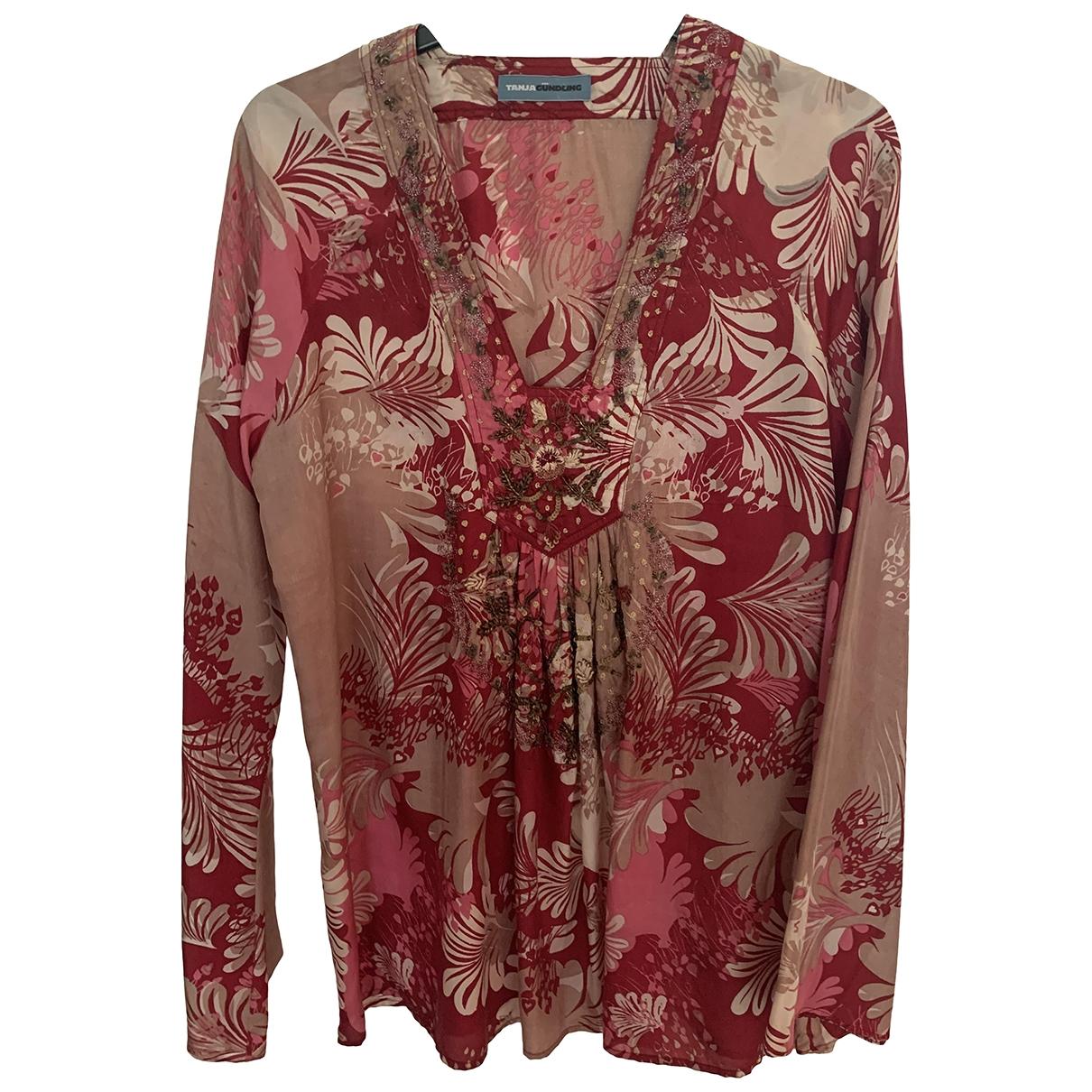 Non Signé / Unsigned Oversize Burgundy Silk  top for Women L International