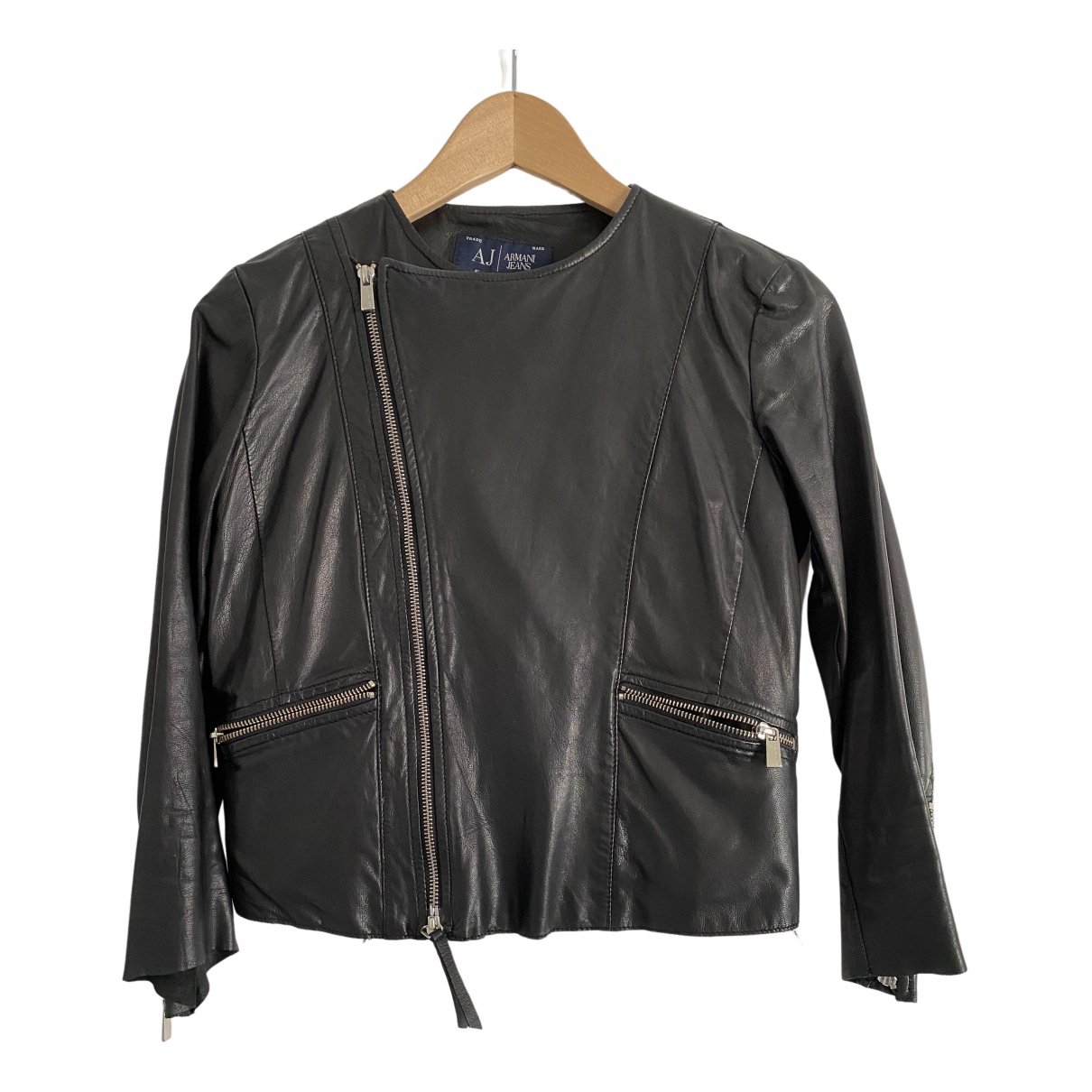 Armani Jeans N Black Leather Leather jacket for Women 38 IT