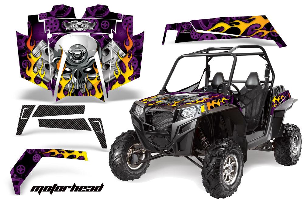 AMR Racing  Full Custom UTV Graphics Decal Kit Wrap Motorhead Purple Polaris RZR XP 900 11-14