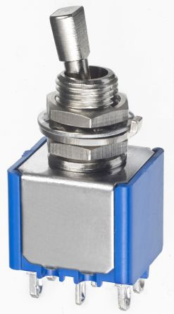 APEM DPDT Toggle Switch, (On)-Off-On, Panel Mount