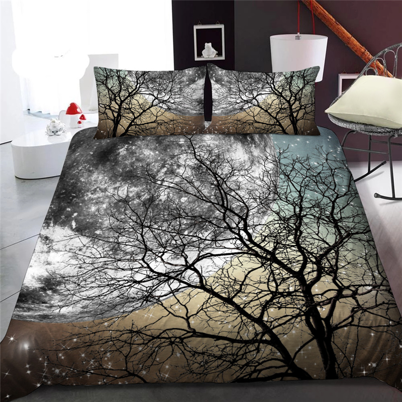 Black Branch and Moon 3D Printed Polyester 1-Piece Warm Quilt