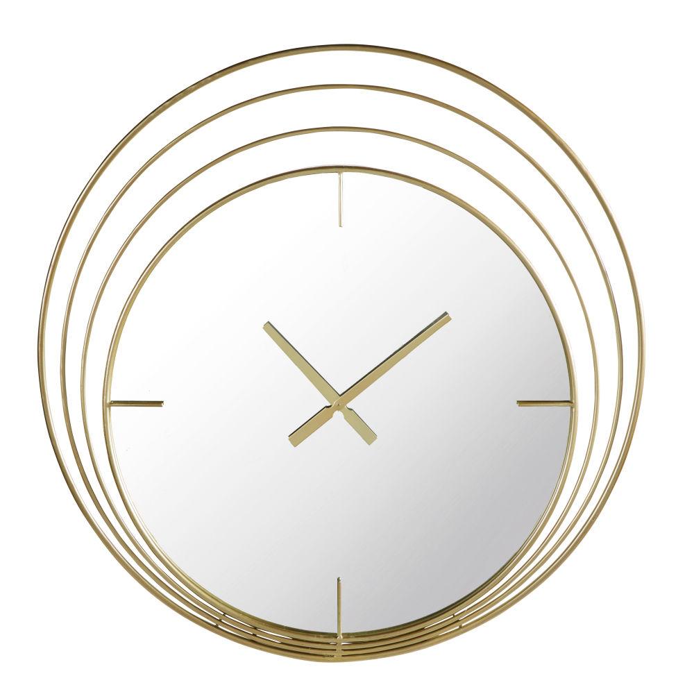 Wanduhr mit Spiegel und Ringen aus Metall, goldfarben 89x91