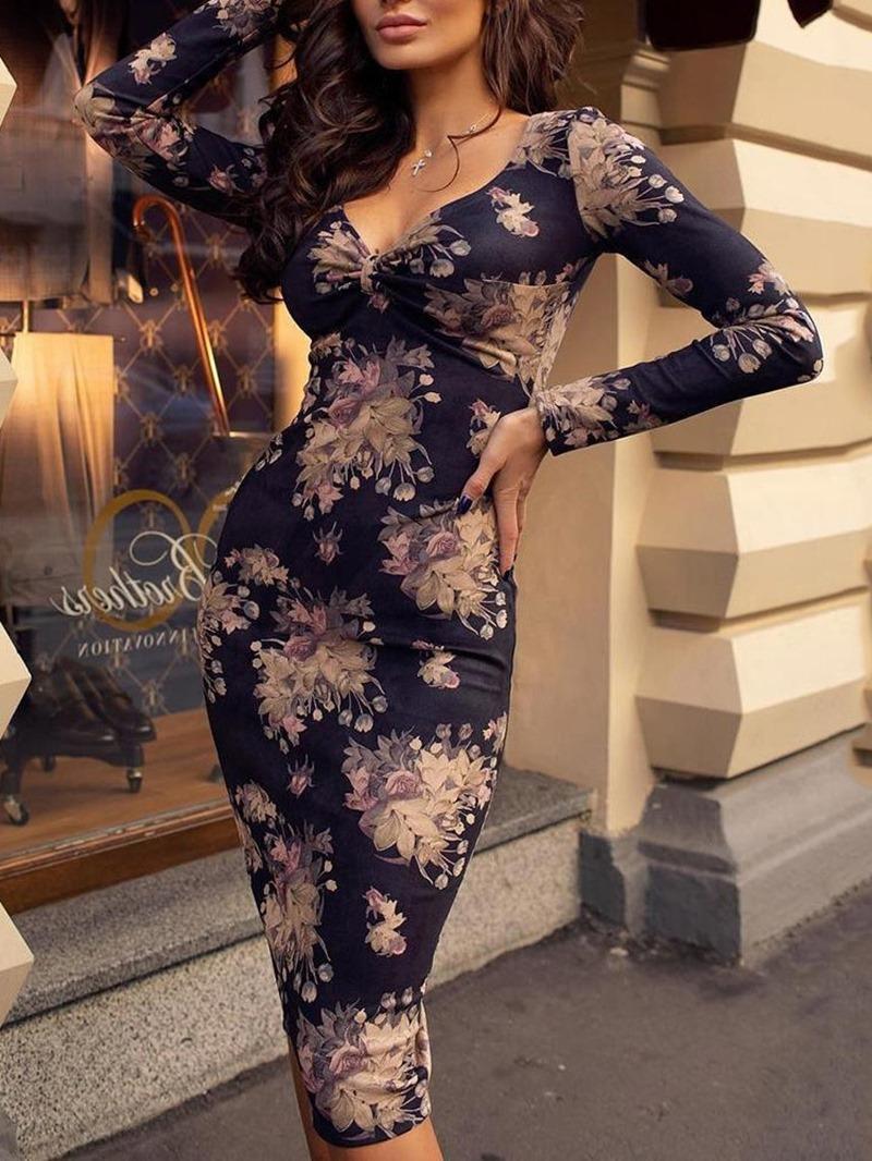 Ericdress Print Mid-Calf V-Neck Mid Waist Pullover Pencil Dress