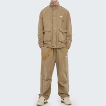 Guys Tie Waist Letter Patch Sweatpants Without Chain