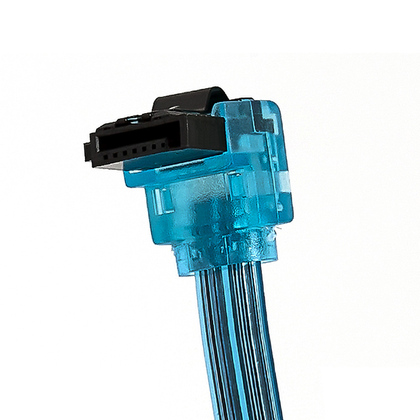 18'' SATA 6Gbps Cable w/Locking Latch (90 Degree to 180 Degree) - (3 colours) - Monoprice - UV Blue