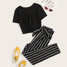 Strick Top mit Twist vorn & Hose mit Papiertasche um die Taille, Guertel und Streifen Set